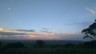 Rising moon from the top of the scarp. View down to the Adelaide plains. The next couple of days are going to be flat!